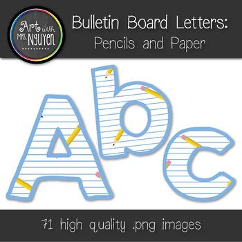 Bulletin Board Letters: Pencils and Paper (Classroom Decor)