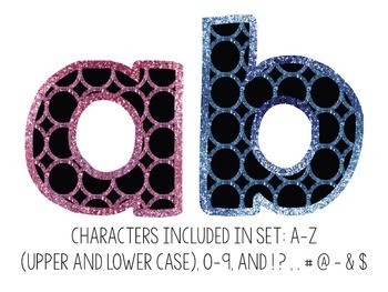 Bulletin Board Letters: Pink & Blue Glitter Circles (Classroom Decor)