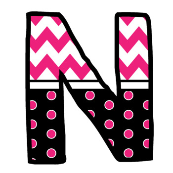 Bulletin Board Letters: Pink Chevron and Dots (Classroom Decor)