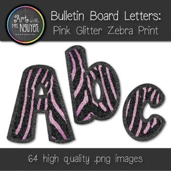 Bulletin Board Letters: Pink Glitter Zebra Stripe (Classro