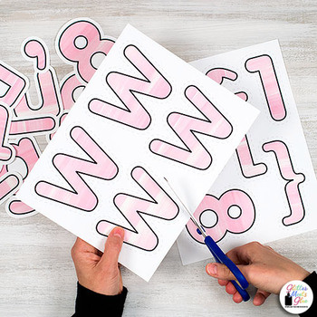Bulletin Board Letters: Pink Watercolor Alphabet & Punctuation Marks