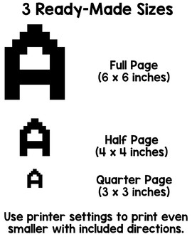 image relating to Printable Letters for Bulletin Boards named Bulletin Board Letters: Printable Pixel Artwork Letters and Figures