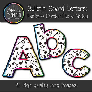 Bulletin Board Letters: Rainbow Border Music Notes (Classroom Decor)