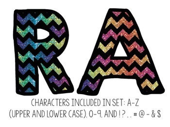 Bulletin Board Letters: Rainbow Glitter Chevron (Classroom Decor)