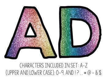 Bulletin Board Letters: Rainbow Glitter Fill (Classroom Decor)