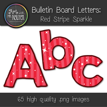 Bulletin Board Letters: Red Stripe Sparkle (Classroom Decor)