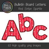Bulletin Board Letters: Red Stripe Sparkle (Classroom Decor)
