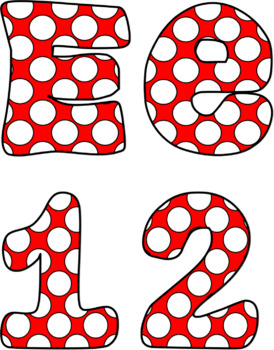 Bulletin Board Letters: Red and White Polka Dot