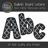 Bulletin Board Letters: Silver Glitter Moroccan Lattice Pattern