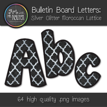 Bulletin Board Letters: Silver Glitter Moroccan Lattice Pattern