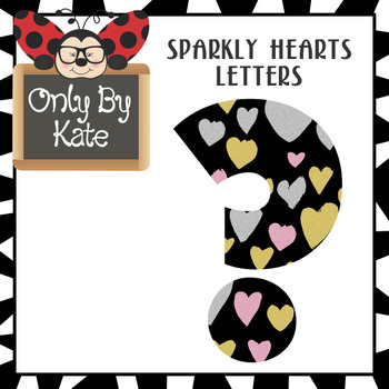 Bulletin Board Letters, Sparkly Hearts, Print Your Own
