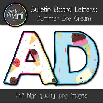 Bulletin Board Letters: Summer Ice Cream Prints (Classroom Decor)