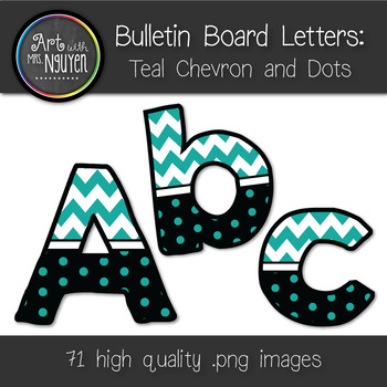 Bulletin Board Letters: Teal Chevron and Dots (Classroom Decor)