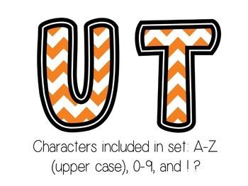 Bulletin Board Letters: Tennessee - Orange & White Chevron (Classroom Decor)