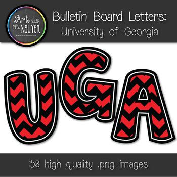 Bulletin Board Letters: Georgia (UGA) - Red & Black Chevron (Classroom Decor)