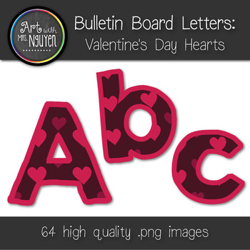 Bulletin Board Letters: Valentine's Day Hearts (Classroom Decor)