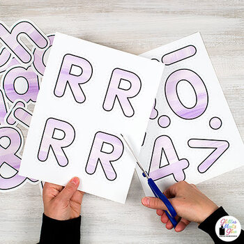 Bulletin Board Letters: Violet Watercolor Alphabet & Punctuation Marks