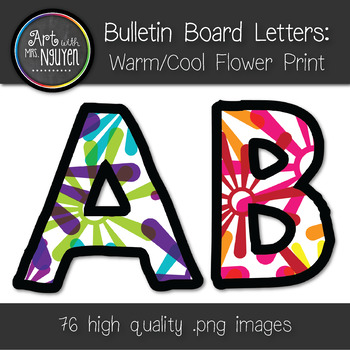 Bulletin Board Letters: Warm and Cool Color Flower Print (Classroom Decor)