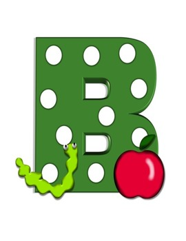 Bulletin Board Letters & Word Wall Letters Green Polka Dots with Apples & Worms