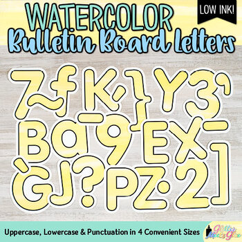 Bulletin Board Letters: Yellow Watercolor Alphabet & Punctuation Marks