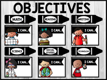 Bulletin Board Objectives/ 'I Can' Statements - BLACK & WHITE