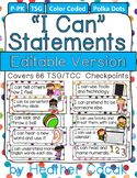 "Editable POLKA DOTS ""I Can"" Statement Cards {TSG Head Start Pre-K}"