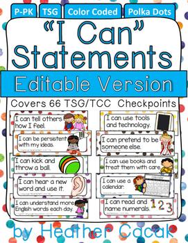 "Editable POLKA DOTS ""I Can"" Statement Cards {TSG Head Start Pre-K}"