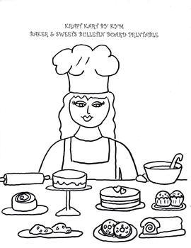 Bulletin Board Printable,Black & White, Baker and Sweets