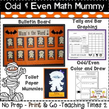 Odd and Even Math Mummy l Bulletin Board l Bar Graphing l Halloween