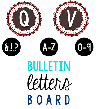 Bulletin Board Red Stars Letters & Numbers