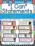 "Editable Bulletin Board STRIPES ""I Can"" Statement Cards {TSG Head Start Pre-K}"