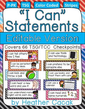 "Editable Bulletin Board STRIPES ""I Can"" Statement Cards {TSG Head Start Pre-K}"