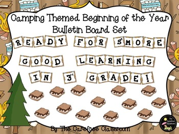 Bulletin Board Set: Camping Themed Beginning of the Year Set EDITABLE
