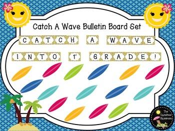 Bulletin Board Set: Catch A Wave Back To School Board EDITABLE