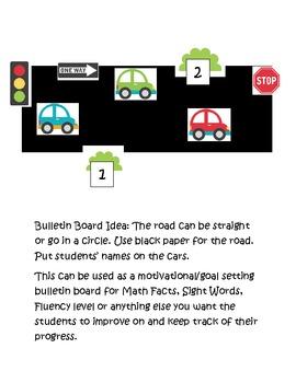 Bulletin Board Set: Cruising Through Math Facts (can change the subject)