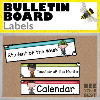 bulletin board set labels w/bobbleheadz friends by bee your best