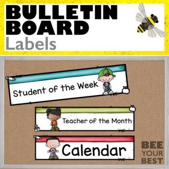 Bulletin Board Set LABELS w/Bobbleheadz Friends
