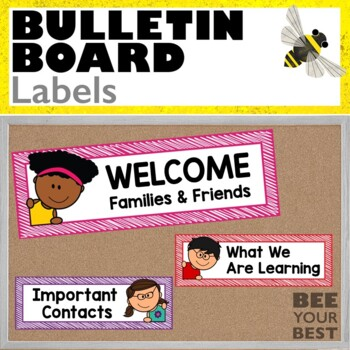 Bulletin Board Set LABELS with Corner Peeps