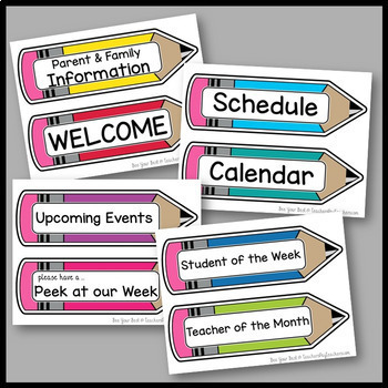 Bulletin Board Set LABELS with Pencils