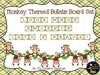 Bulletin Board Set: Monkey Themed Back To School Set EDITABLE