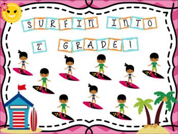 Bulletin Board Set: Surfing Themed Back To School Set EDITABLE