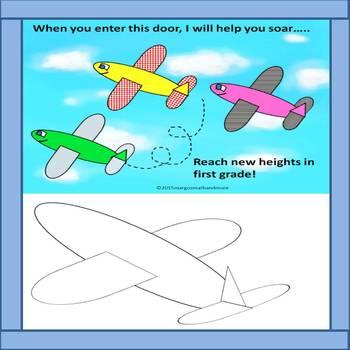 Bulletin Board & Door Decor Set with Airplane/Flight Theme