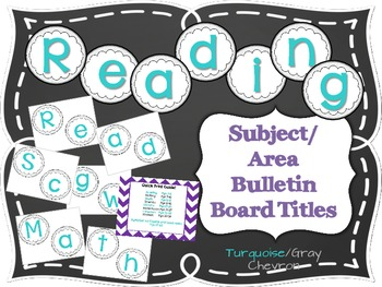 Bulletin Board Subject/Area Titles- Turquoise and Gray Chevron