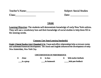 Bulletin Board Task Card for History of NY Assignment
