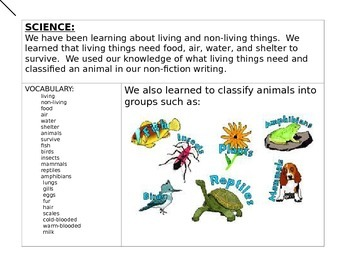 Bulletin Board Task Living and Non living/ classify animals