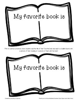 "Bulletin Board Template ""My Favorite Book"" FREEBIE"