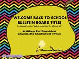 Bulletin Board Titles: Back to School Theme - Freebie