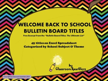 Bulletin Board Titles: Back to School Theme - Freebie