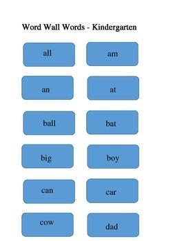 Bulletin Board Word Wall for Kindergarten