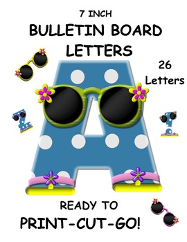 Bulletin Board and Word Wall Letters Blue Polka Dots A-Z Sunglasses Upper Case